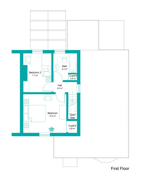 1 Bakers Lane Marketing Plans First Floor Colour plan